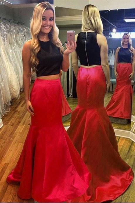 Black Top And Red Skirt Long Prom Dresses,Two Pieces Prom Gowns,Simple Party Prom Dresses.Cheap Prom Dress,Women Dresses