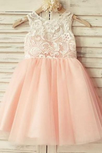 2017 Zipper Lace Tulle Knee-length Round A-line Sleeveless Homecoming Dress On Sale Dresses
