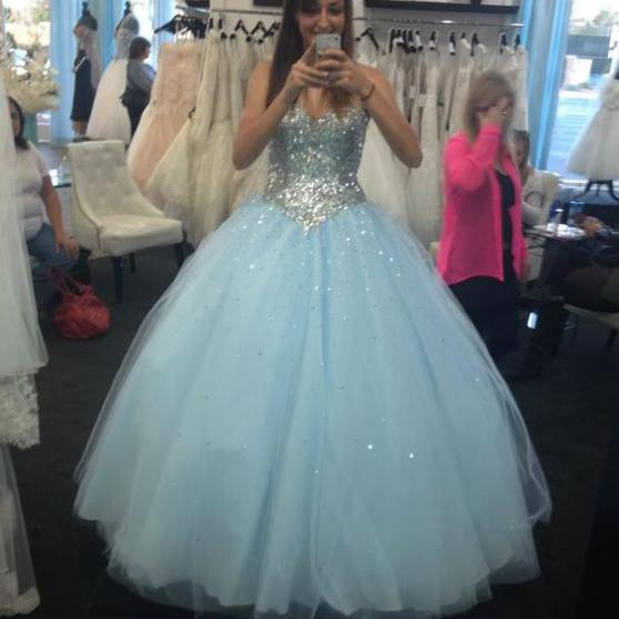 Charming Prom Dress,Tulle Prom Dress,Ball Gown Prom Dress,Sequin Evening Dress