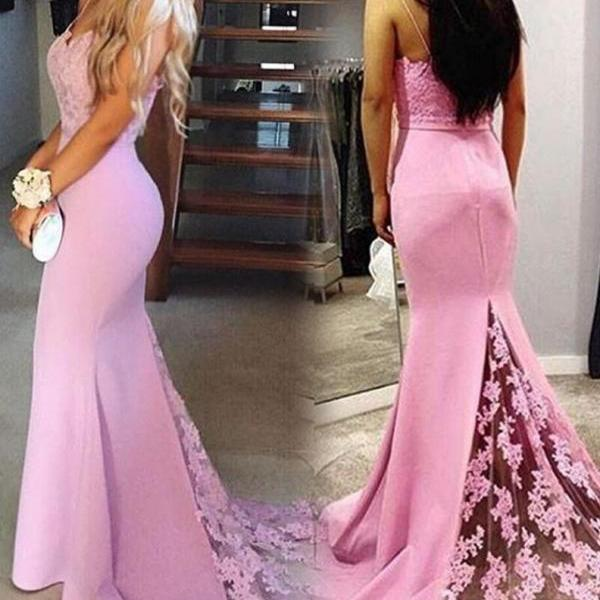Gorgeous Pink Sweetheart Prom Dress, Mermaid Formal Gown With Lace Sweep Train