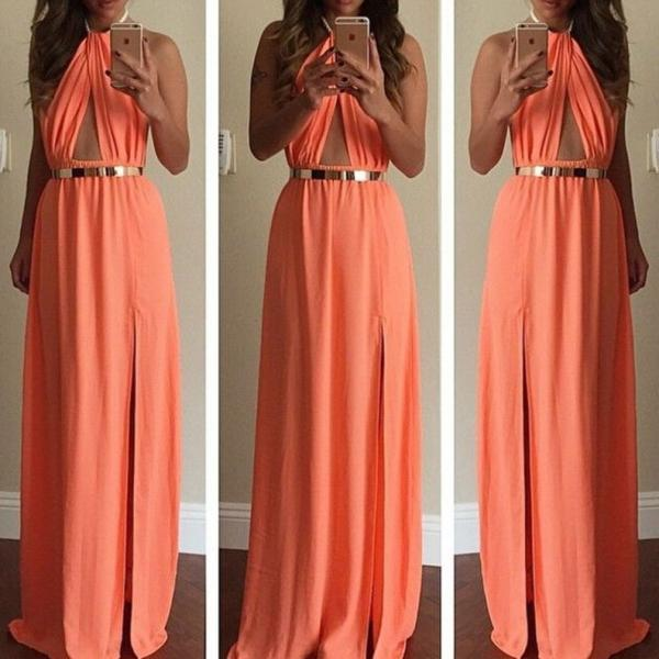 Charming Prom Dress,Chiffon Prom Dress,Halter Prom Dress,A-Line Evening Dress