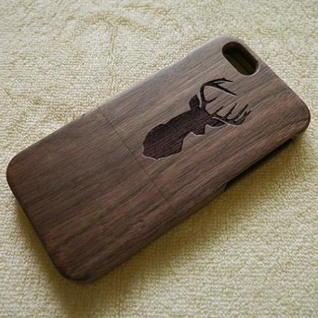 Wood iPhone case, Wood iPhone 6 case, Wood iPhone 6 Plus case, Deer Head, Real Wood, Wooden iPhone cover,natural wood iPhone 6 case