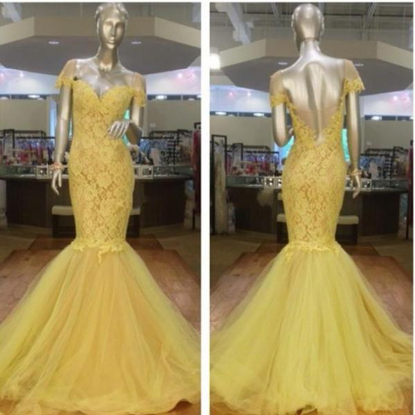 Prom Dress, New Arrival Prom Dress,Modest Prom Dresses,Stunning Yellow Off the shoulder short Sleeves 2017 Evening Dress Lace Mermaid Prom Gown